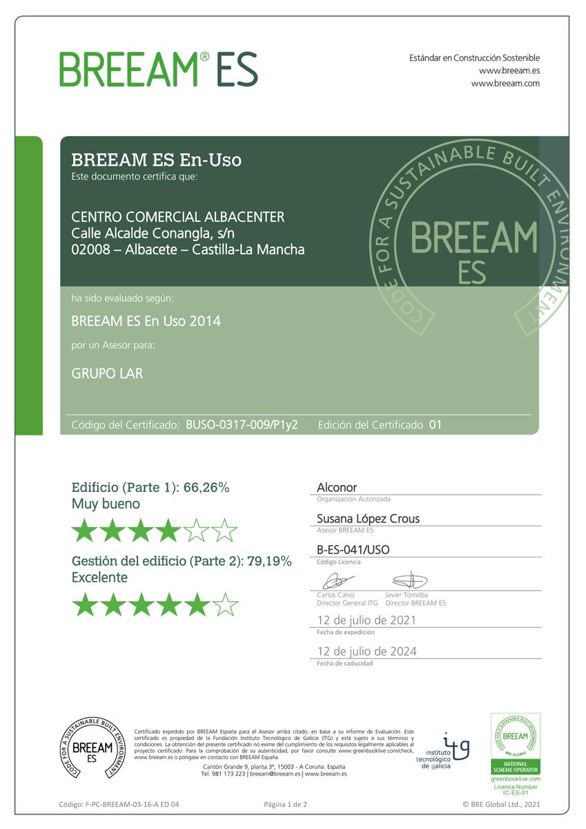 certificado-breeam-albacenter-julio-2021